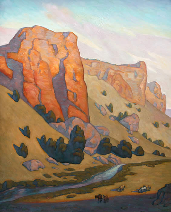 Howard Post, Three Buttes, Oil on Canvas, 50
