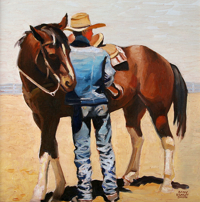 "Gary Ernest Smith, Tightening the Cinch, Oil on Canvas, 16"" x 16"""