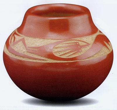 """Tony Da Incised Red Avanyu Jar, 5"""" x 4"""""""