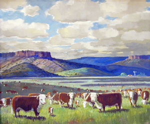 "Ben Turner, Cows and Mesas, Oil on Canvas, c. 1950-60, 20"" x 24"""
