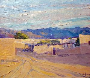 "Walter Ufer, A Part of Isletta N.M. Evening Sun, Oil on Board, c. 1915, 10"" x 12"""