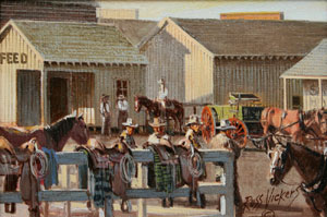 "Russ Vickers, The Wagon Yard, Oil on Canvas Board, 1978, 4.5"" x 6.5"""