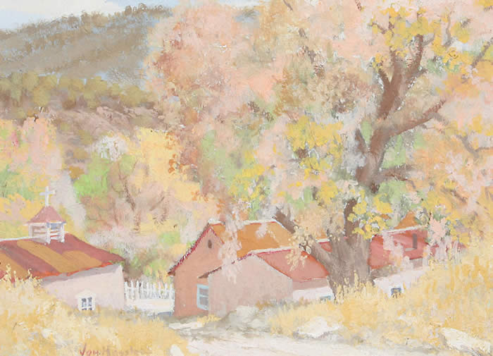 "Carl von Hassler, Left: Springtime New Mexico Valley, c. 1930, Acid Tempra, 16"" x 20"" Right: Autumn Splendor, c. 1930, Egg Tempera, 12"" x 16"""