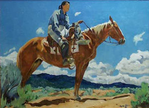 "Walter Ufer, Lone Rider, 12"" x 16"", Oil on Canvas"