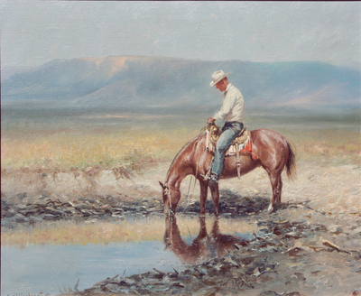 Olaf Wieghorst, Watering His Pony, Oil on Canvas, c. 1960-70, 20