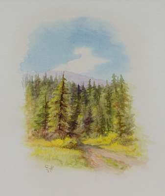 Olaf Wieghorst, Jack Creek Montana, watercolor, dated 8-7-1970, 9