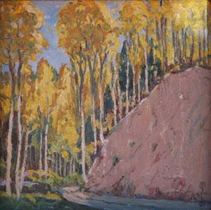 "J. R. Willis, Mountain Festival Fall Scene, c. 1930, Oil on Canvas on Board, 7"" x 7"""