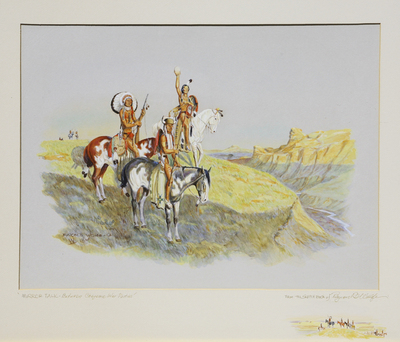 "Byron Wolfe, Mirror Talk - Between Cheyenne War Parties, watercolor, c. 1960, 16"" x 20"""