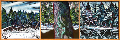 "James Woodside, Magalloway River Triptych, Oil on Panel, 19"" x 56"""