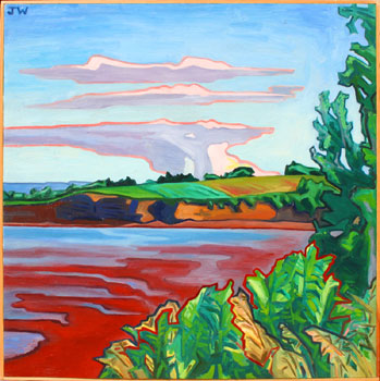 "James Woodside, Minas Basin, Oil on Panel, 24"" x 24"""