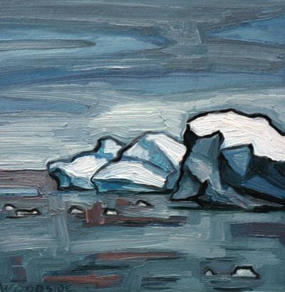 """James Woodside, Three Bergs, Oil on Panel, 8"""" x 8"""""""