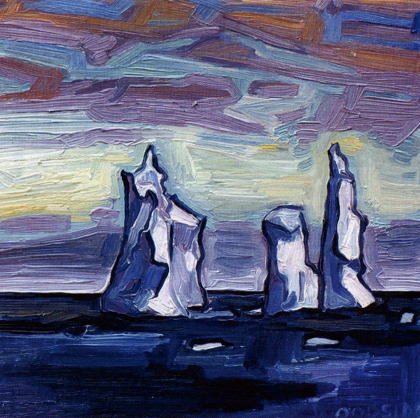 "James Woodside, Pinnacle Icebergs, Oil on Panel, 8"" x 8"" Collection the artist."