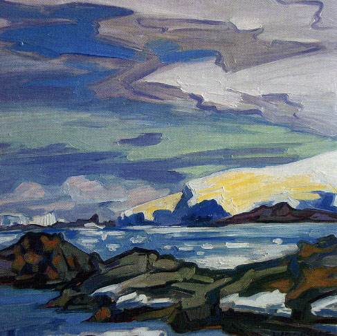 "James Woodside, Norsel Point, Oil on Panel, 16"" x 16"" Collection John and Janet Pattillo"