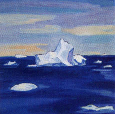 "James Woodside, Antarctica Summer, 2003, oil on panel, 16"" x 16"" Collection John and Janet Pattillo"