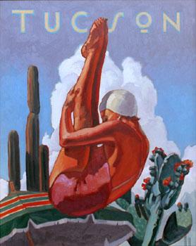 Dennis Ziemienski, Tucson Diver, Oil on Canvas, 30