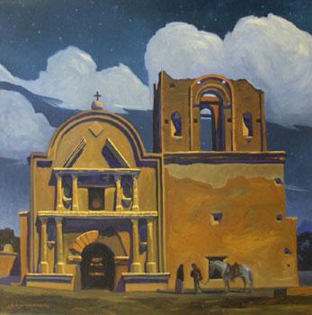 Dennis Ziemienski, Moonlight over Tumacacori, Oil on Canvas, 36