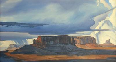 Dennis Ziemienski, Cloudburst Amid the Monuments, Oil on Canvas, 32