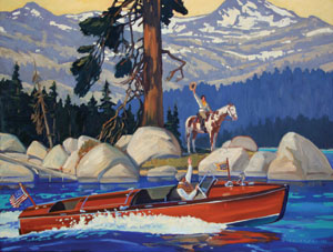 "Dennis Ziemienski, Tahoe Boat, Oil on Canvas, 32"" x 42"""