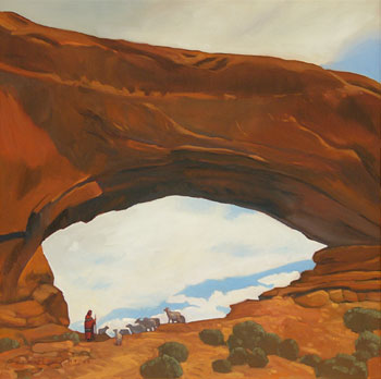 Dennis Ziemienski, Shepherd at the Window, Oil on Canvas, 32