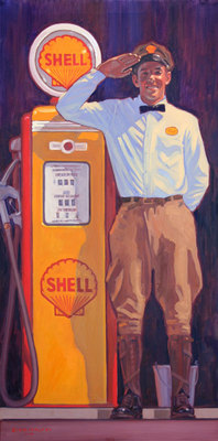 """Dennis Ziemienski, Fill'er Up? Oil on Canvas, 48"""" x 24"""""""