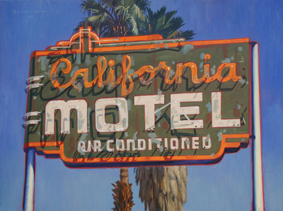 "Dennis Ziemienski, California Motel Oil on Canvas, 36"" x 48"""