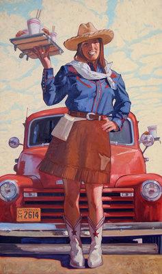 "Dennis Ziemienski, Cowgirl Car Hop, Oil on Canvas, 60"" x 36"""
