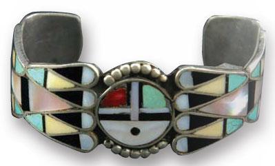 Zuni Sunface Multi-stone Inlay Bracelet, c. 1940